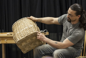 Gabriel Frey demonstrates Passamaquoddy Basketmaking during a Sunday Afternoons at the EAC talk