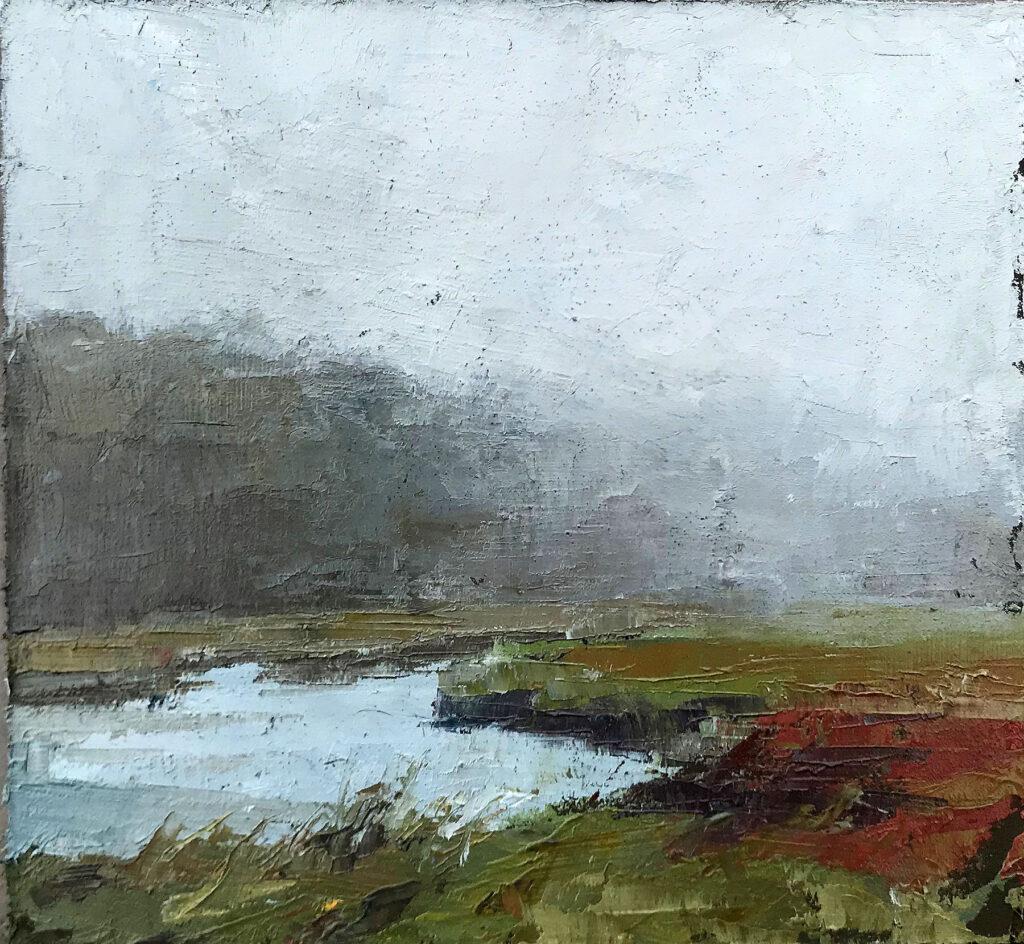 Fog Rolling Over Marsh by Ashley Zipp
